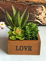High Simulation Partysu  Succulent Plant Creativity Timber Flowerpot Floriculture Set Artificial Flower