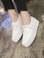 Flats Spring Comfort PU Casual Flat Heel Lace-up White