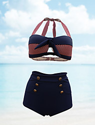 Muairen® Women'S Classic Printing Stripe High-Waisted Bikini Sexy Swimsuit Ms Boxer