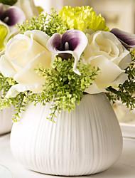 1 Une succursale Roses Calla Lily Fleur de Table Fleurs artificielles