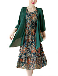 Women's Plus Size Formal Vintage Chinoiserie Loose Swing Dress,Print Round Neck Midi Long Sleeve Rayon Polyester All Seasons Mid Rise