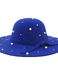 женские случайные однотонные цвета кашемир лук жемчужный украшения шерсти джаз маленькая шляпа