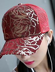 Women Lace Sunscreen Shade Breathable Net Sequins Rose Print Baseball Sun Hat