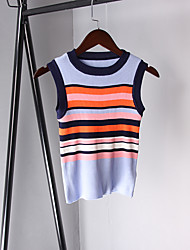 Sign new casual Korean Slim thin horizontal stripe sleeveless knit vest female backing short paragraph