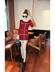 знак корейской версии новой осенне-зимний период хеджирования тонкий тонкий свитер карманные платье свитер пассивом платье