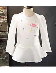 Girl's Solid Dress,Cotton Summer Spring Short Sleeve