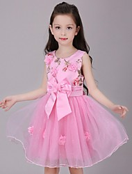 Ball Gown Knee-length Flower Girl Dress - Organza Jewel with Appliques Bow(s) Flower(s)