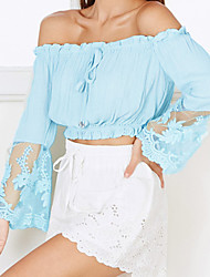 Women's Going out Casual/Daily Sexy Cute Summer Blouse,Solid Boat Neck Long Sleeve Blue White Others Thin