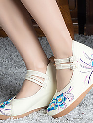 Heels Spring Comfort Fabric Casual Wedge Heel Satin Flower Red White