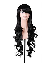 Popular 80cm Long Black Wavy Synthetic Natural Women's Lolita Costume Wig 3 Colors