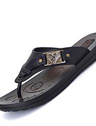 Men's Slippers & Flip-Flops Spring Summer Fall Winter Comfort Leather Casual Flat Heel Black Brown Blue