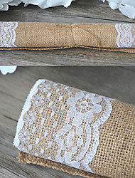 Width 30cm Length 180cm Natural Vintage Burlap Lace Hessian Table Runner Wedding Party Decoration Jute Table Runners