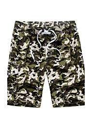 Men's Mid Rise Micro-elastic Shorts Pants,Simple Boho Active Loose Patchwork Camouflage