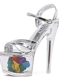 Damen-High Heels-Kleid-PU-StöckelabsatzSilber
