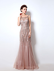 Formal Evening Dress Trumpet / Mermaid Bateau Floor-length Tulle with Beading