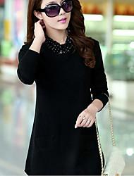 die neue langärmeligen Pullover gefälschte zweiteilige Kopf koreanischen wilden Revers langen Abschnitt der weiblichen Haar grundiert