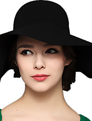 Women Wool Black Solid Color Fold Bow Fisherman England Fashion Big Eaves Wool Hat