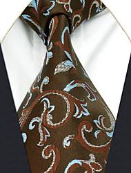 AXL29 Men's Neckties Brown Floral 100% Silk Dress Casual Business For Men