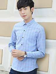 Men's long-sleeved shirt thin section of England spring business casual plaid shirt dress Young Slim sportsman inch