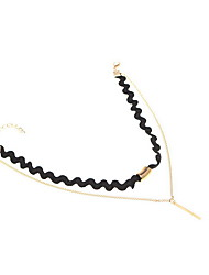 Necklace Non Stone Choker Necklaces Jewelry Daily Casual Others Euramerican Fashion Personalized Alloy Nylon 1pc Gift Black Yellow Gold
