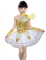 Jazz Outfits For Girls Performance Spandex Sequined Sequins 5 Pieces Short Sleeve Natural Top Skirt Neckwear Bracelets