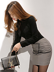Women's Business Office & Career Classic & Timeless Suits Fall Spring T-shirt Skirt Suits,Sexy Round Neck Long Sleeve Modern Style
