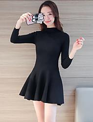 Sign the goods Korean temperament and a half high collar Slim waist long-sleeved knit dress shirt
