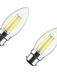 4W B22 E26/E27 LED Glühlampen CA35 4 COB 400 lm Warmes Weiß Dimmbar V 2 Stück