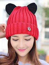 de las mujeres gorro de lana linternas electrónicas elasticidad color sólido de punto protección para los oídos de punto