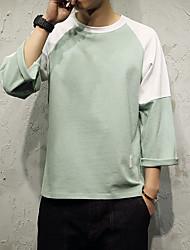 Masculino Camiseta Casual Esportivo Simples Activo Todas as Estações,Sólido Rosa Branco Preto Cinza Verde Algodão Elastano Decote Redondo
