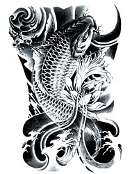 LC2814 21*15cm 3D Large Big Tatoo Sticker Sketch Black Golden Fish Drawing Designs Cool Temporary Tattoo Stickers