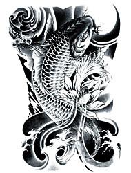 lc2814 21 * 15cm 3d grandes grande esboço tatoo traseiro preto peixes dourados desenho design legal do tatuagem adesivos temporários