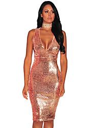 Women's Gold Liquid Sequins Cutout Back Club Dress