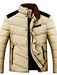 Men's Long Padded Coat,Cotton Solid Long Sleeve