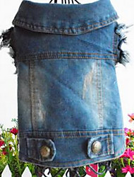 Dog Denim Jacket/Jeans Jacket Dog Clothes Casual/Daily Sports Solid Blue