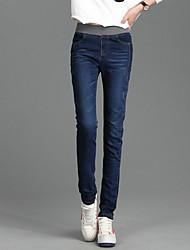 Spring Korean version was thin elastic waist jeans Slim stretch jeans feet female
