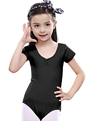 Ballet Dresses Children's Training Cotton Ruffles 1 Piece Short Sleeve Natural Leotard