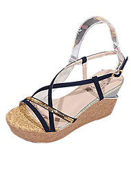 Women's Sandals Spring Summer Fall Comfort PU Dress Casual Wedge Heel Red Navy Blue