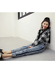 firmar la nueva versión coreana del curling lijado vaqueros jeans rectos pantimedias mujer salvaje delgada