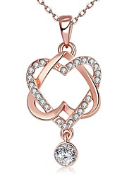Women's Pendant Necklaces Chain Necklaces AAA Cubic Zirconia Geometric Zircon Rose Gold Plated Imitation Diamond AlloyBasic Unique Design