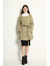 Manteau Femme,Couleur Pleine Sortie simple Manche Longues Mao Repasser à l'envers Coton Normal Printemps