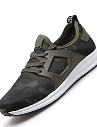 Men's Athletic Shoes Spring Summer Fall Winter Light Soles Fabric Athletic Flat Heel Lace-up Black Green Running
