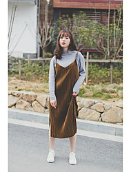 Retro gold velvet pleated leather buckle strap thin long paragraph strap dress hem slit bottoming
