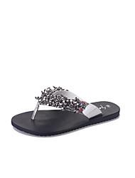 Sandals Summer Comfort PU Office & Career Flat Heel Rhinestone Crystal Black White