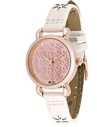 Men's Women's Fashion Watch / Quartz Leather Rose Gold Plated Band Casual White