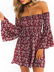 Women's Going out Casual/Daily Vintage Boho Slim Sheath DressFloral Backless Strapless Above Knee Long Sleeve Flare Sleeve  Spring Fall
