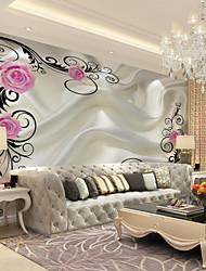 Art Deco Wallpaper For Home Wall Covering Canvas Adhesive Required Mural Pink Flowers White Silk Background XXXL(448*280cm)