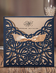 50pcs/lot Blue Laser Cut Luxury Flora Wedding Invitations Card Elegant Lace with Ribbon Envelopes Seals Favor Wedding Event & Party Supplies CW6179B