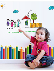Happy Family Colour Pens Play Crural Line Bedroom Balcony Decorate Children Room Wall Stickers