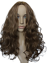 Capless Natural Wavy Synthetic Fiber Wig Brown Medium Long Women Party Wig Hairstyle